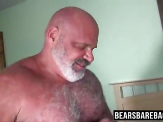 Big bear barebacking his skinny hunk pa